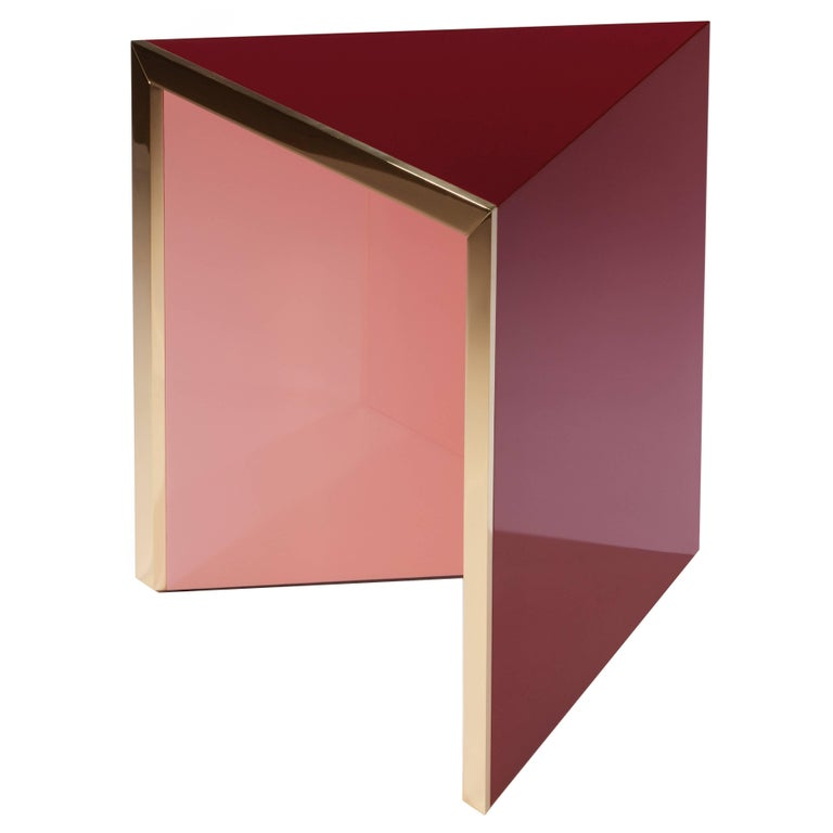 """Side Table """"Prisme"""" Pink by Hervé Langlais For Sale"""