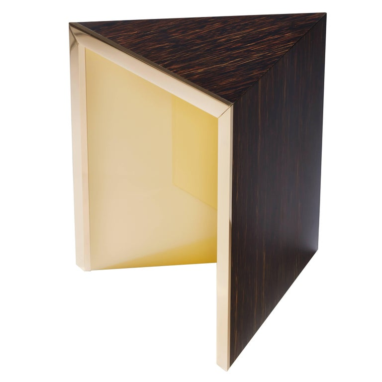"""Side table """"Prism"""" yellow by Hervé Langlais for Galerie Negropontes For Sale"""