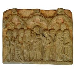 19th Century Carved Stone Plaque of Jesus and the 12 Apostles