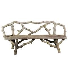 Contemporary French Faux Bois Bench