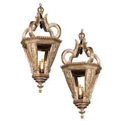 Pair of Silver Gilt Baroque Style Italian Hanging Lanterns from the 19th Century