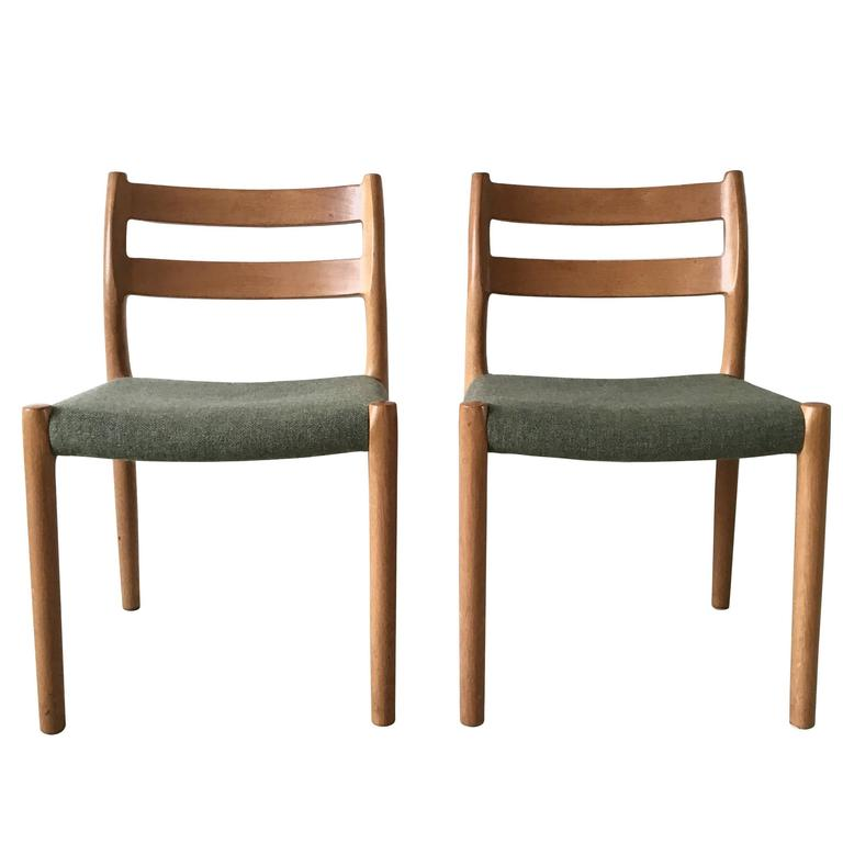Set Of Two Dining Chairs In Teak By J L Moller For H Jbjerg Denmark 1960s