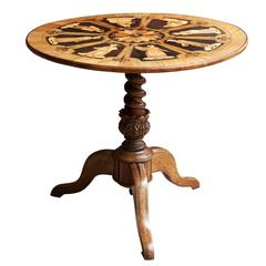 Italian Sorrento Marquetry Tilt-Top Table
