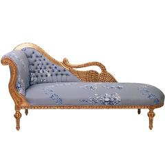 Antique Gilded French Chaise in Oscar De La Renta Fabric