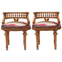 Pair of Gilded French Empire Stools in Silk