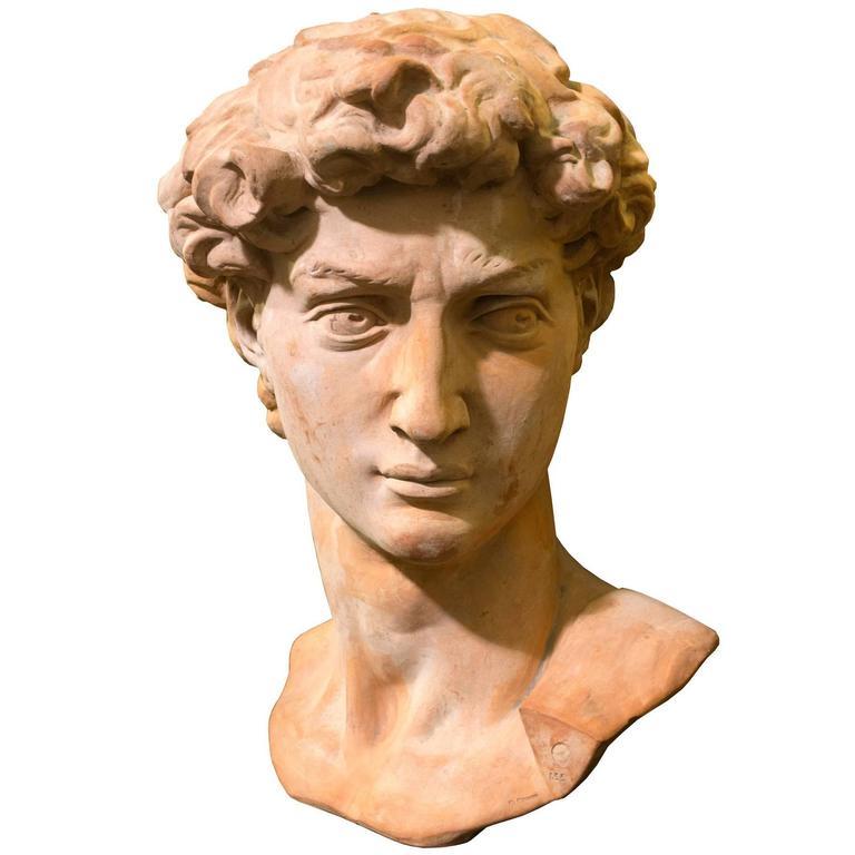 Monumental Terra Cotta Bust Of David After Michaelangelo