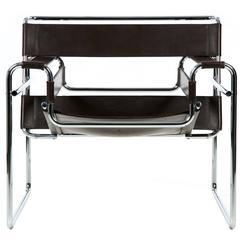 "Mid-Century Modern Tubular Leather Lounge ""Wassily"" Chair, Marcel Breuer"