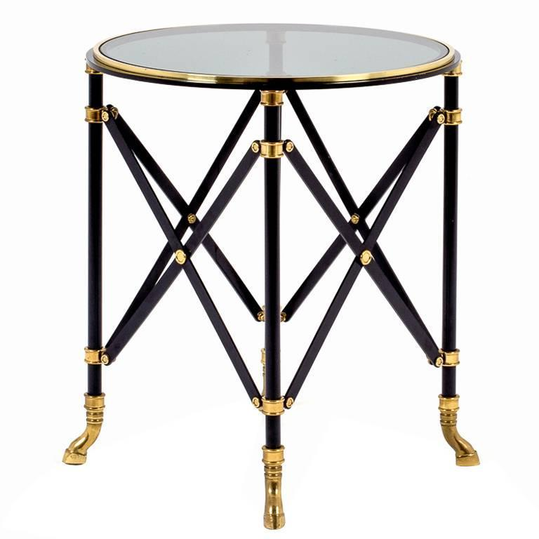 Black and Brass Gueridon by Maison Jansen