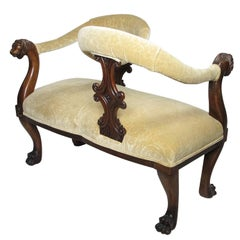 "19th Century Victorian Mahogany ""Tête-à-Tête"" (Head to Head) Lovers Settee"