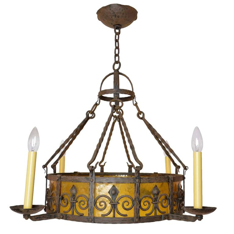 1920s iron chandelier with amber glass at 1stdibs 1920s iron chandelier with amber glass for sale aloadofball Images