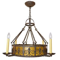 1920s Iron Chandelier with Amber Glass