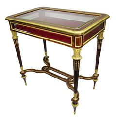 19th Century Louis XVI Style Ormolu Mounted Mahogany and Kingwood Vitrine Table