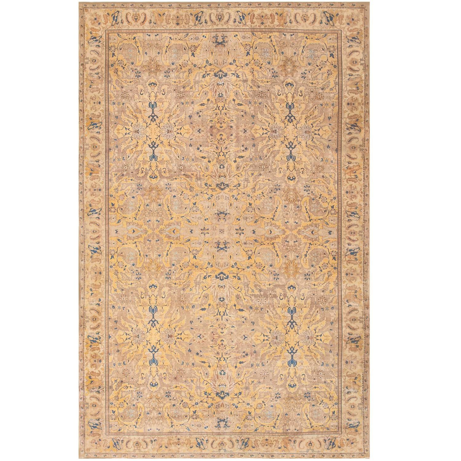 British India Rug: Large Polonaise Antique Indian Rug For Sale At 1stdibs