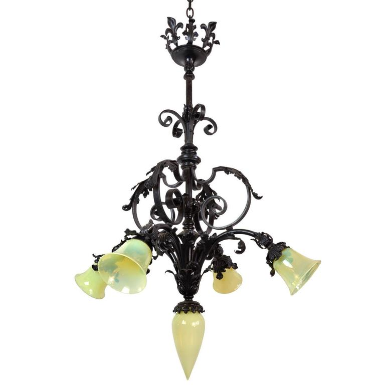 Five Light Iron Chandelier with Vaseline Glass Shades