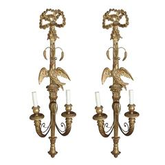 20th Century Italian Palladio Giltwood Sconces with Eagle