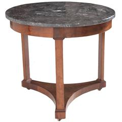 French 19th Century Round Empire Table with Marble Top
