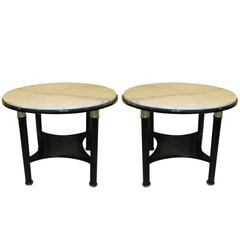 Unusual Pair Ebonized French 1940s/ 1950's  Marble-Top Tables