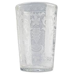 Large 19th Century Victorian Cut and Engraved Grape Rinser or Flip Glass