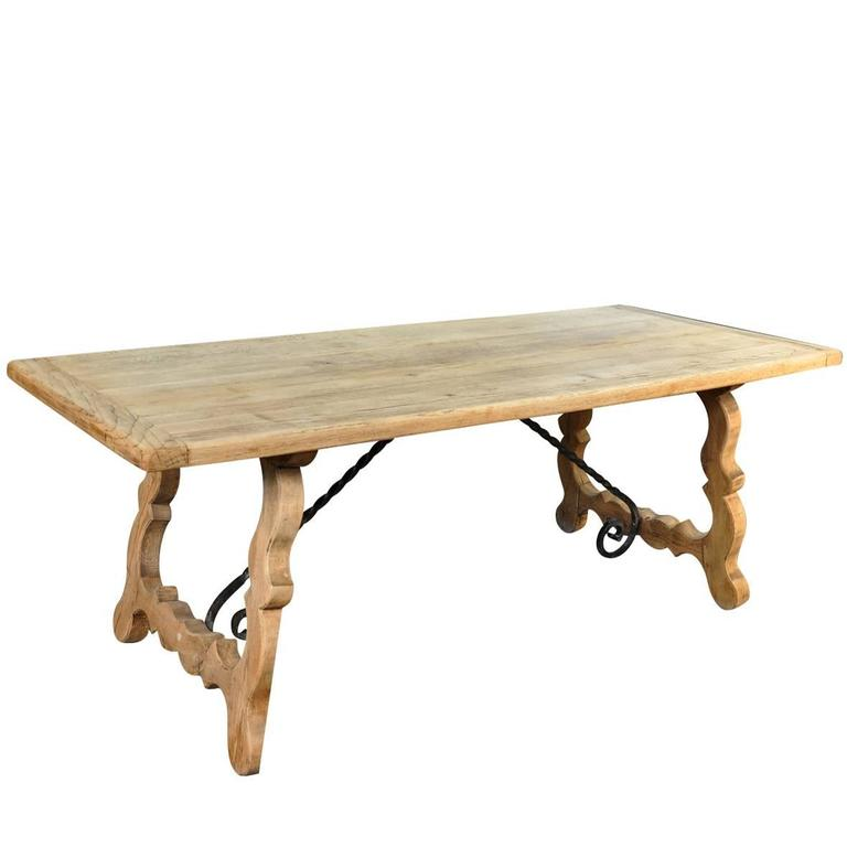 French Farm Table   Trestle Table In Washed Oak 1