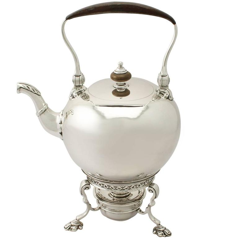 Sterling Silver Spirit Kettle, George I Style, Antique Edward VIII For Sale