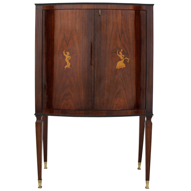 Italian rosewood bar cabinet at 1stdibs for Italian cabinets