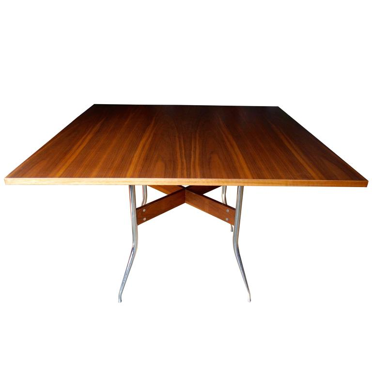 Rare Modern Walnut Square Dining Table by George Nelson for Herman Miller