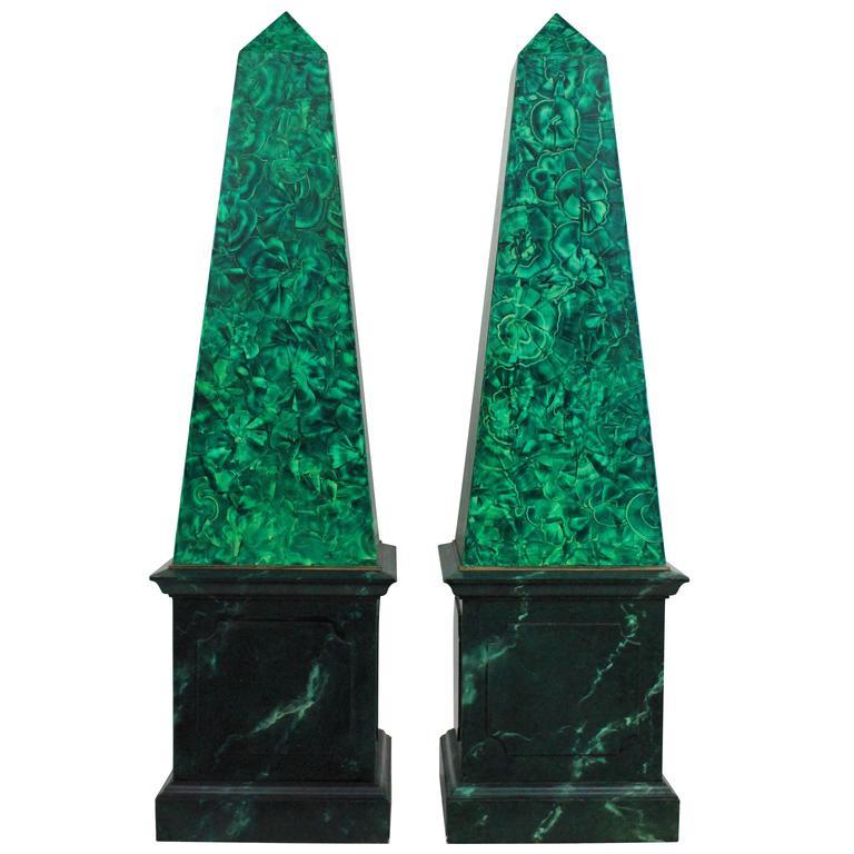 Pair of Large Faux Malachite Obelisks