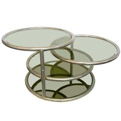 Chrome and Glass Swivel-Top Table