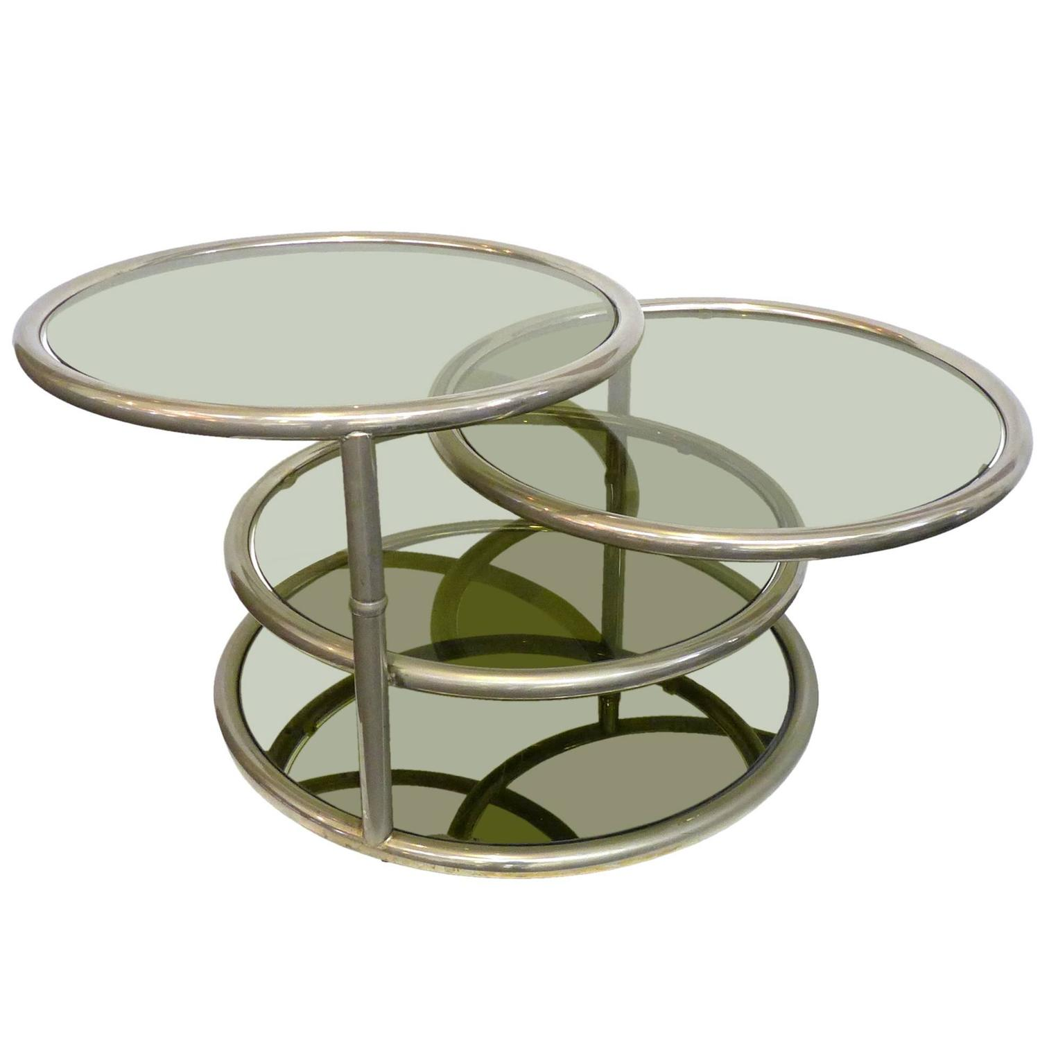 Chrome And Glass Swivel Top Table At 1stdibs