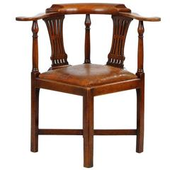"""Antique """"Roundabout"""" Corner Chair with Leather Seat, circa 1760"""