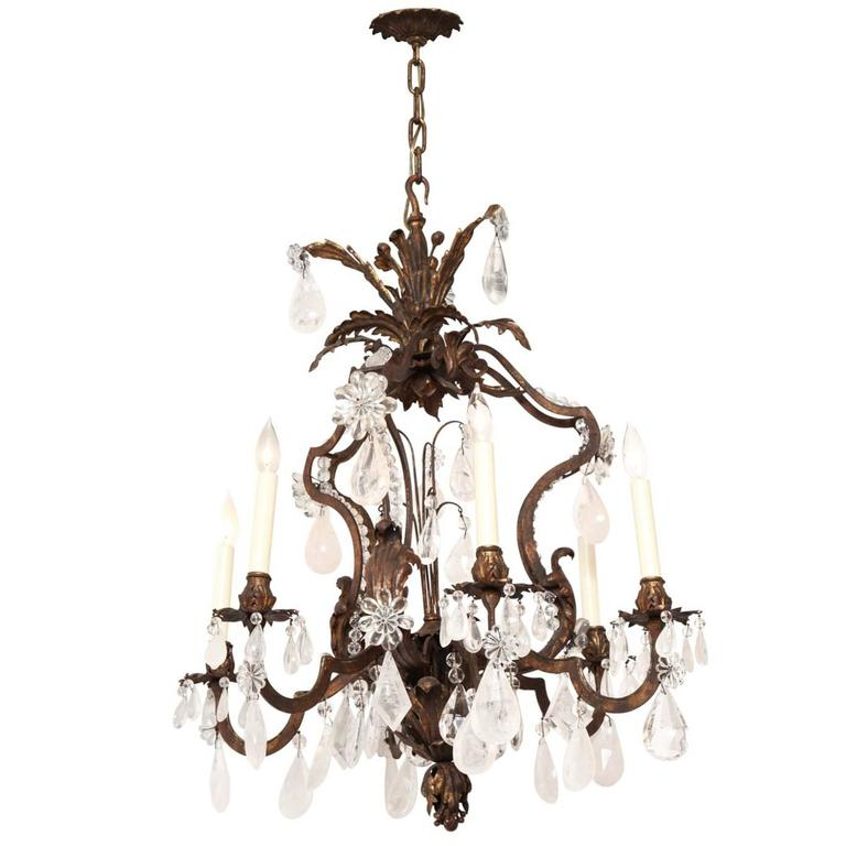 Six-Light Louis XV Style Cage Form Iron and Crystal Chandelier