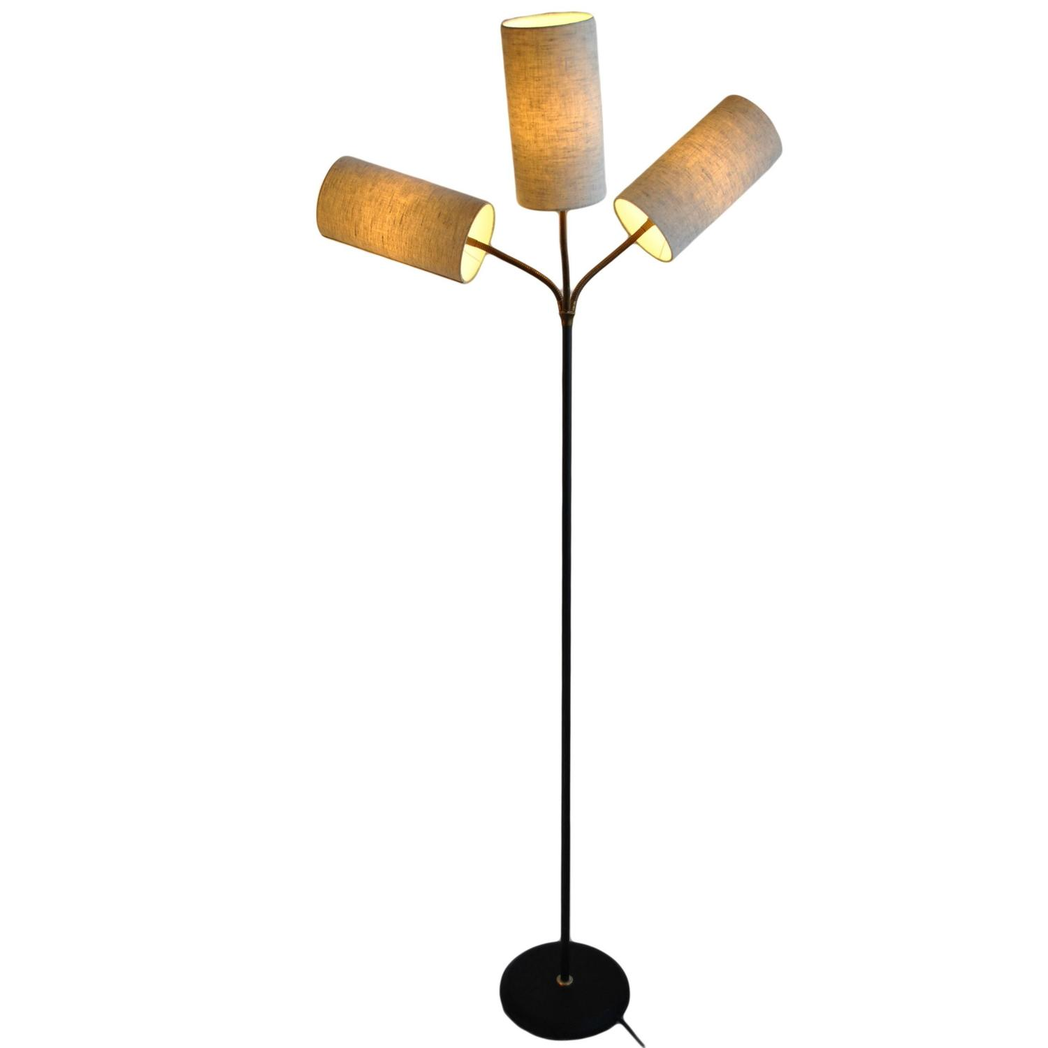 danish 1950s 1960s floor lamp articulated three arm at