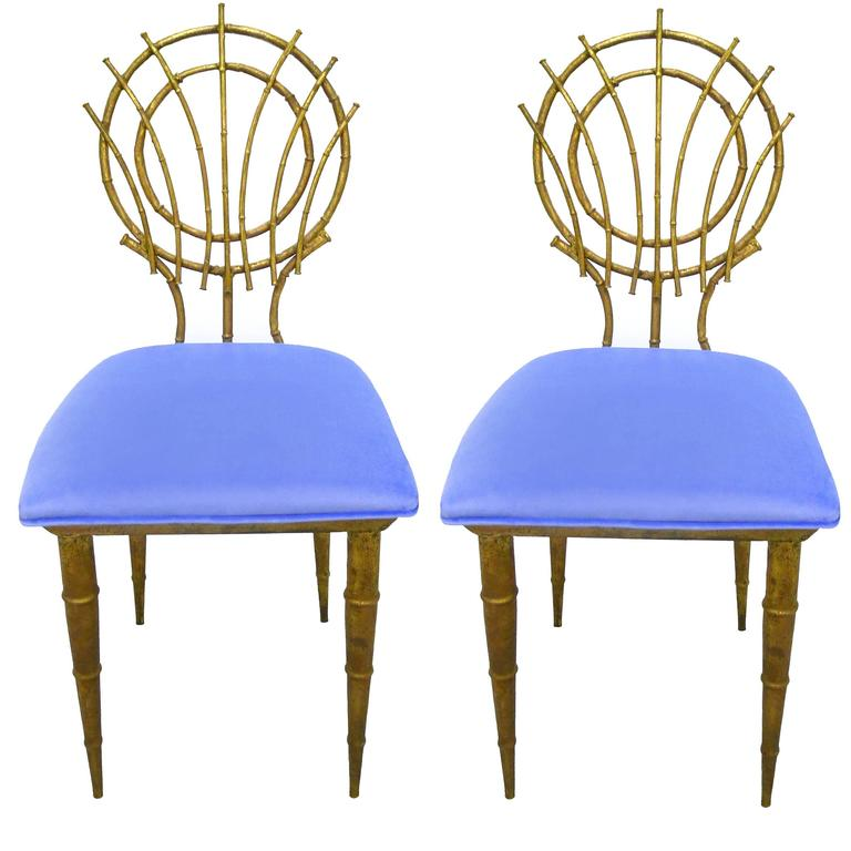 1960s pair of petite chinoiserie gilt bamboo style chairs for Sixties style chairs