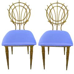 1960s Pair of Petite Chinoiserie Gilt Bamboo-Style Chairs