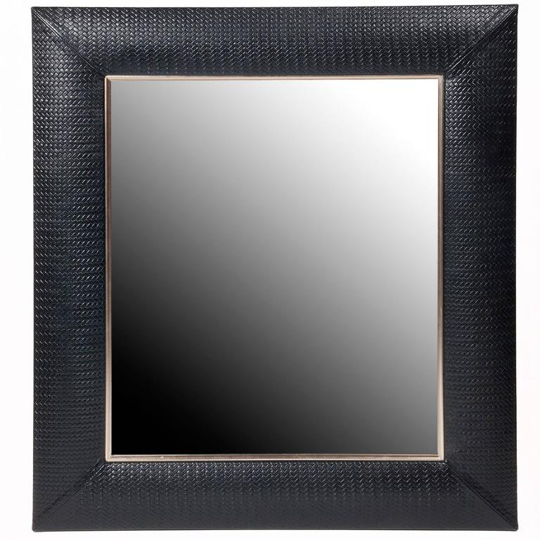 Contemporary Nero Weave Leather Framed Mirror For Sale at 1stdibs