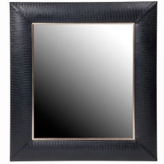 Contemporary Nero Weave Leather Framed Mirror