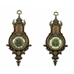 Fine Louis XIV Style Ormolu Clock and Barometer Set by A. Beurdeley