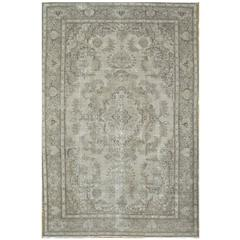 Large Antique Hand-Knotted Distressed Persian Tabriz Rug