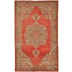 Antique Hand Knotted Turkish Oushak Rug