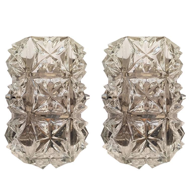 Pair of Austrian 1960s Modernist Glass Wall Lights 1