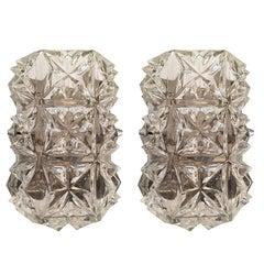 Pair of Austrian 1960s Modernist Glass Wall Lights