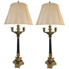 19th Century French Empire Candelabra Lamps, Pair