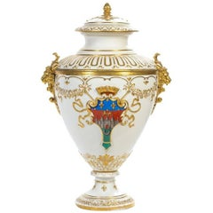 Palace Size French Porcelain Armorial Urn and Cover
