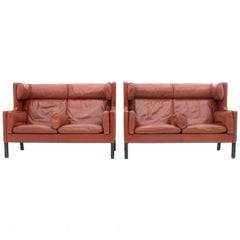 One of Two Børge Mogensen Coupe Leather Sofa, 2192, Frederica, Denmark 1971