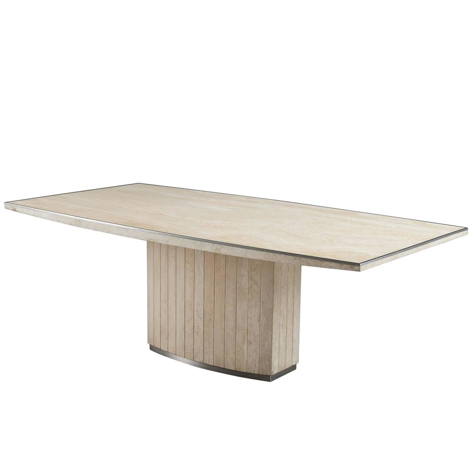 Willy Rizzo Travertine Dining Table For Sale at 1stdibs