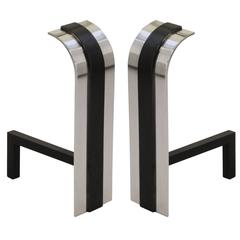 Andirons by Danny Alessandro in Polished Nickel and Matte Black