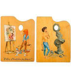 Pair of 1950s Paintings on Palettes