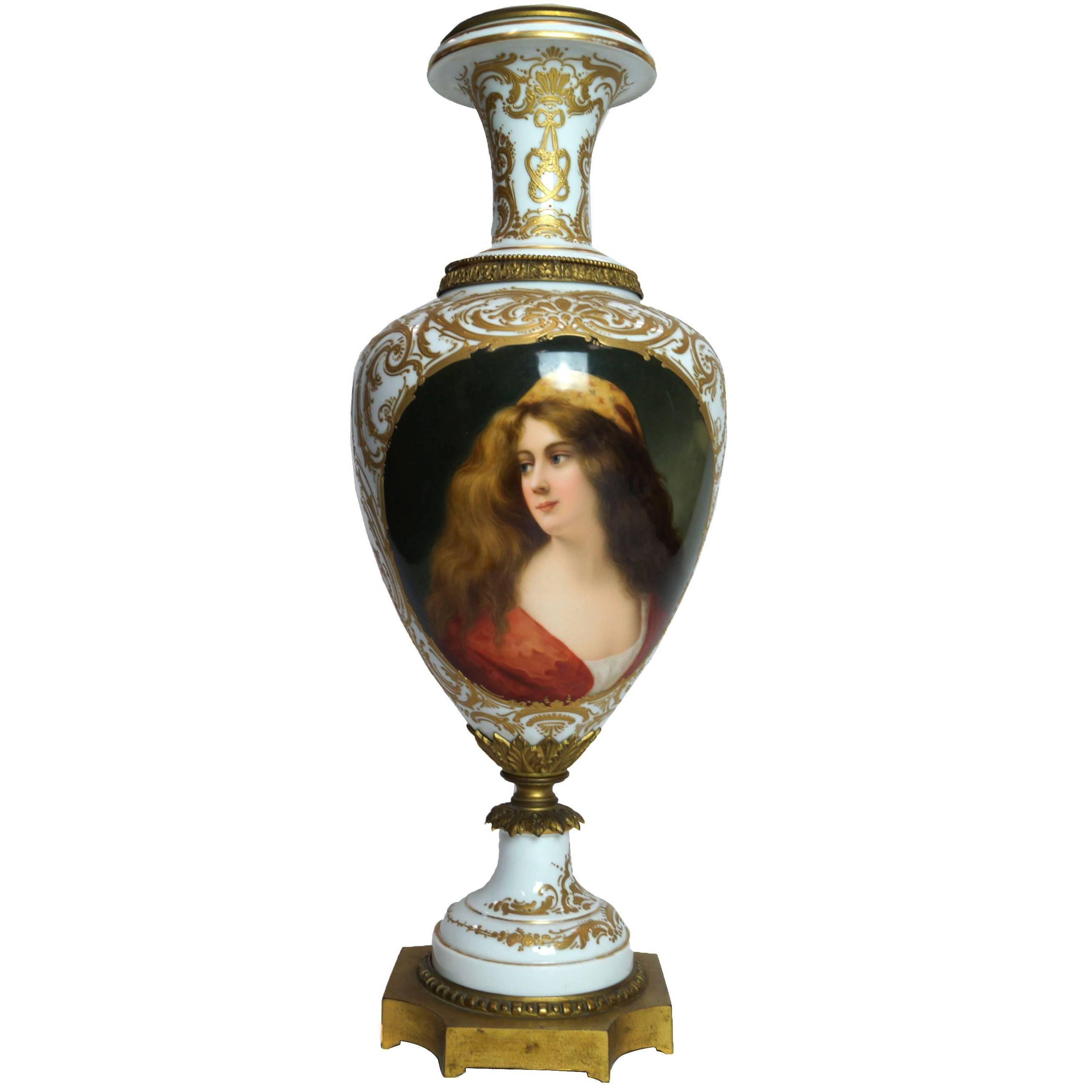 19th Century Austrian Bronze-Mounted Royal Vienna Hand-Painted Vase