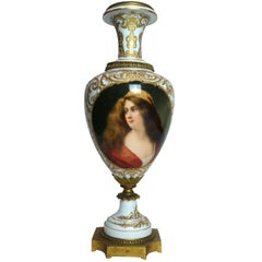 19th Century Austrian Bronze-Mounted Royal Vienna Hand-Painted Vase