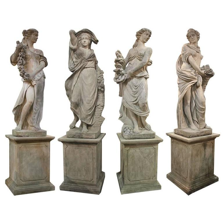 Set Of Monumental 18th Century Neoclassical Statues Of The